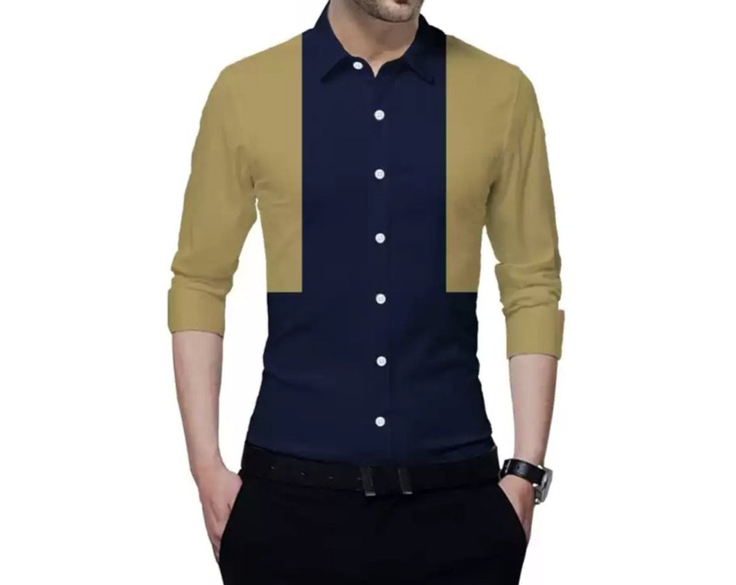 Men Color Block Casual Shirt Brown