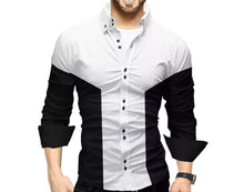 Men Colorblocked Casual Shirt White Black