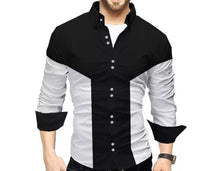 Men Colorblocked Casual Shirt Black White