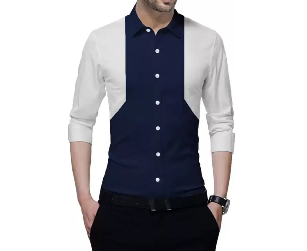 Men Color Block Casual Spread Shirt White