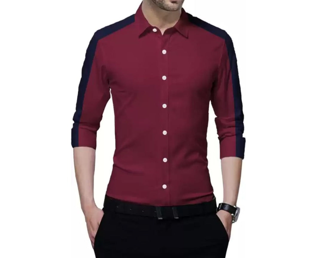 Men Color Block Casual Shirt Meroon