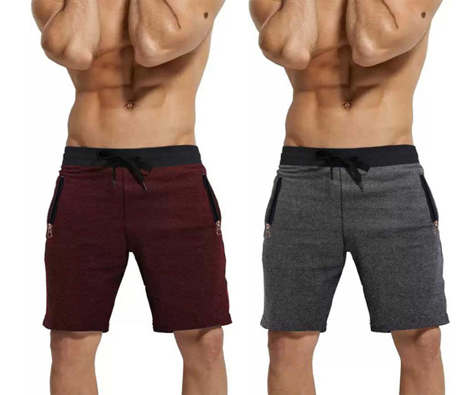 Solid Men Maroon Black, Grey Regular Short(PACK OF 2)