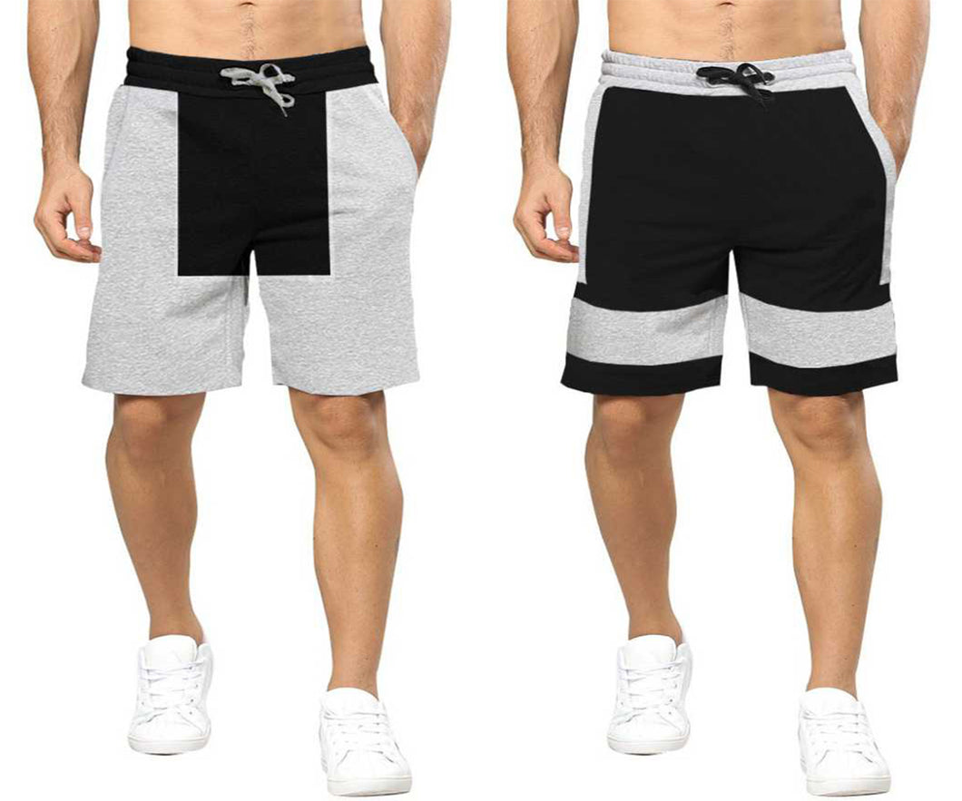 Tripr Solid Men Black, Grey Regular Shorts(PACK OF 2)