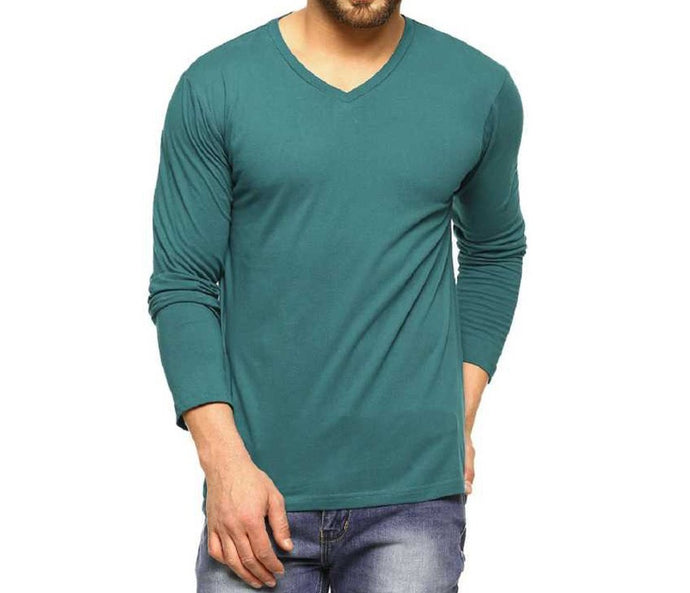 Tripr Men's V-Neck Full Sleeves Tshirt Green