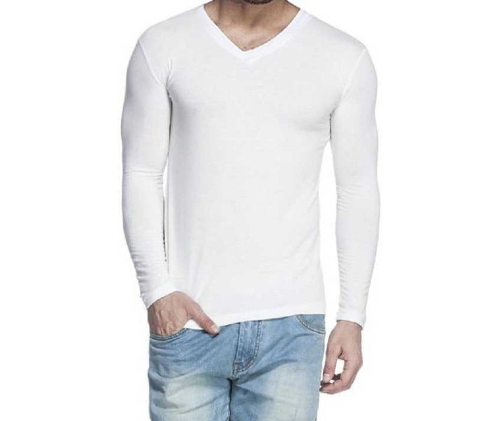 Tripr Men's V-Neck Full Sleeves Tshirt White