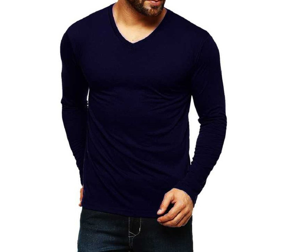 Tripr Men's V-Neck Full Sleeves Tshirt Navyblue