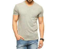 Tripr Men's V-Neck Tshirt Grey Melange