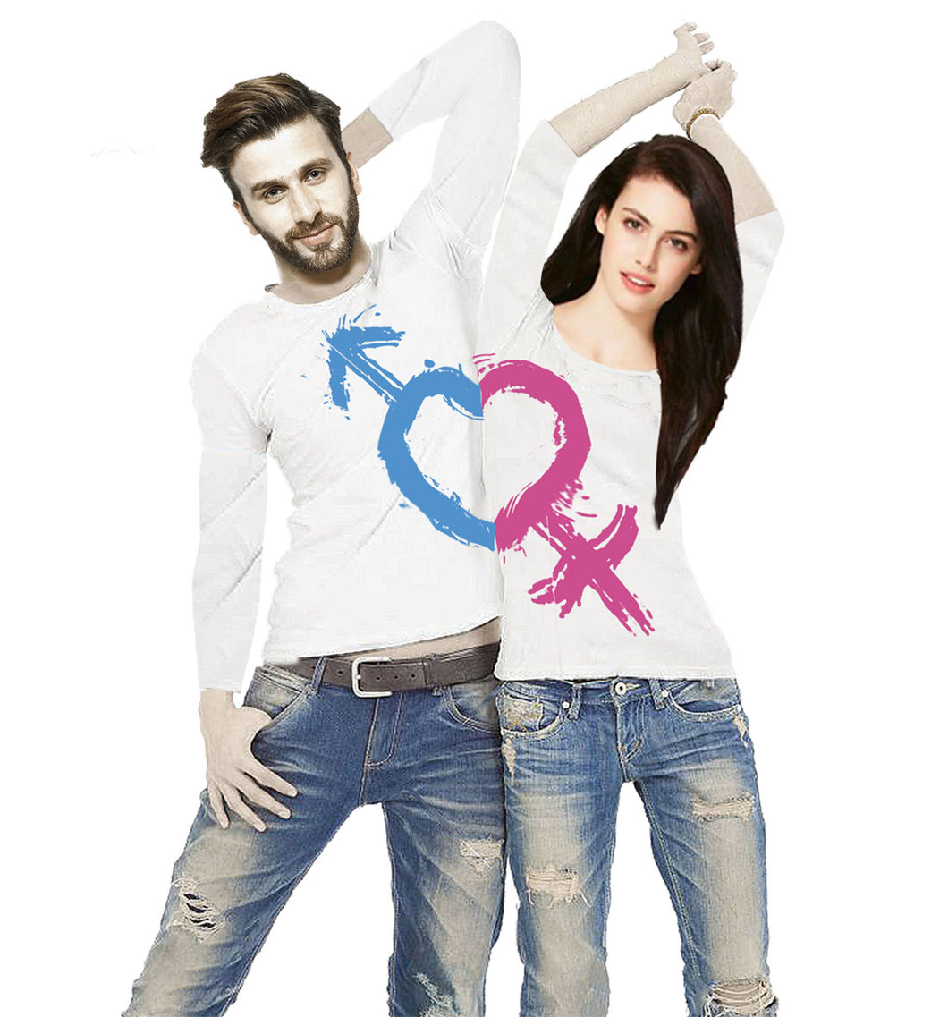 Tripr Printed Men and Women Couple White T-Shirt PACK of 2