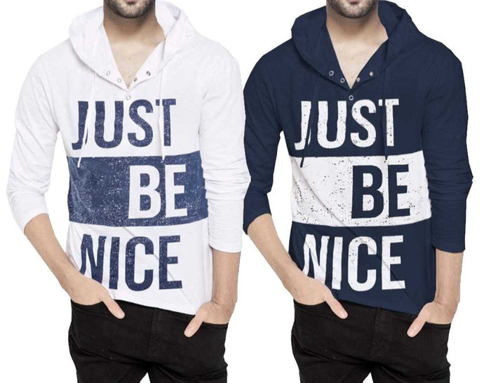Tripr Printed Men Hooded Neck White NavyBlue T-Shirt (Pack of 2)