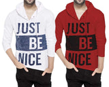 Tripr Printed Men Hooded Neck White Red T-Shirt (Pack of 2)