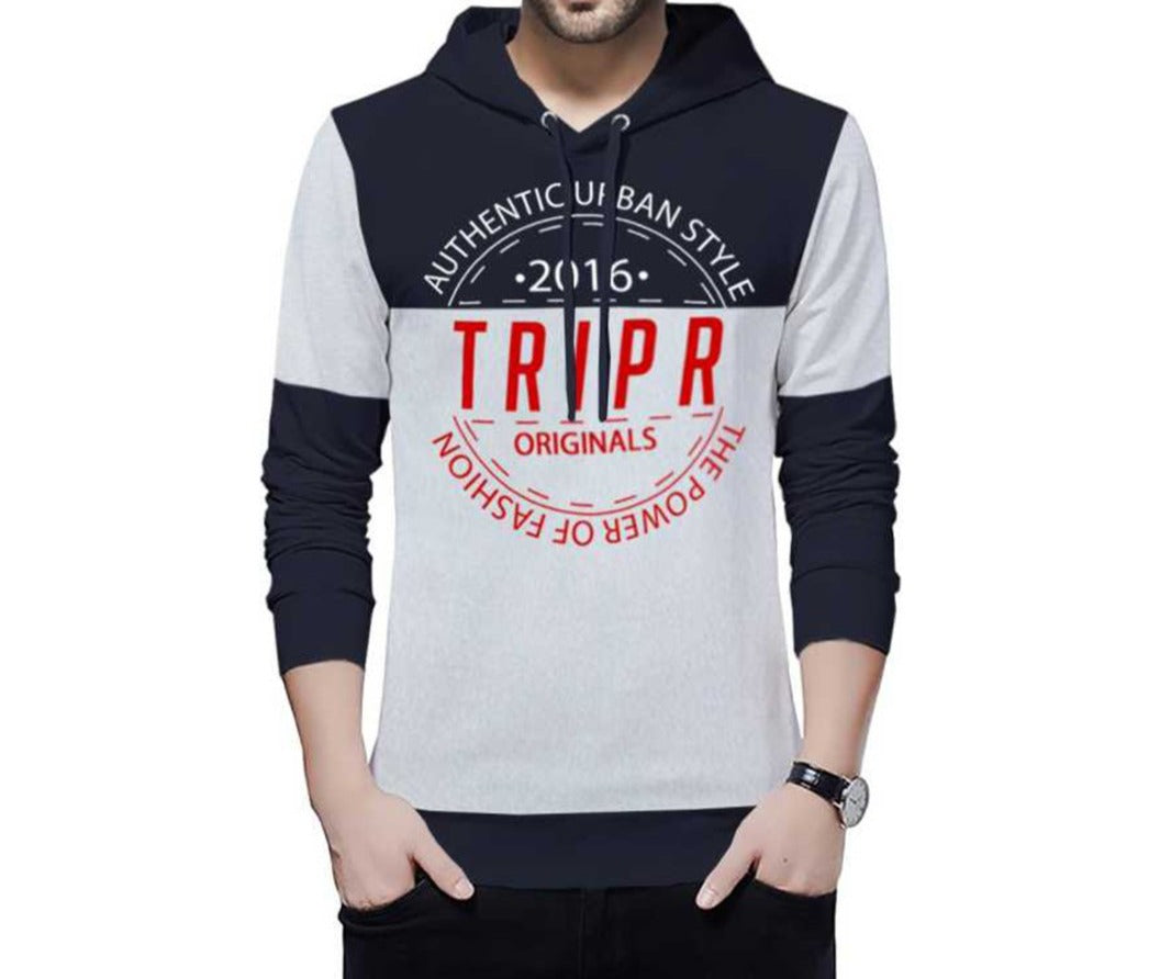 Tripr Typography Men Hooded Neck  Navy Blue T-Shirt