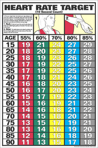 Heart Rate Target Cardiovascular Fitness Workout Wall Chart Poster - Fitnus Corp.