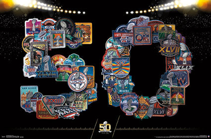Super Bowl I-50 Official Uniform Patches Collage NFL Football Poster - Trends International