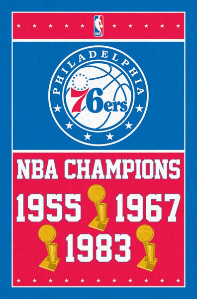Philadelphia 76ers Three-Time NBA Champions Commemorative Wall Poster - Trends International