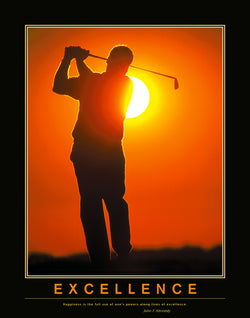 "Golf ""Excellence"" Motivational Inspirational Poster Print (Kennedy Quote) - Eurographics Inc."