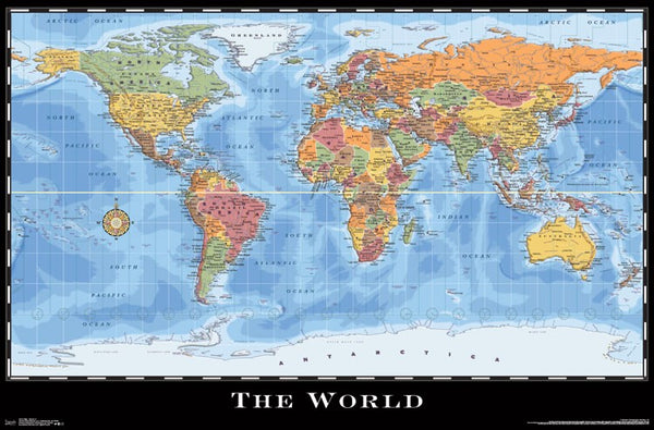 World Map Wall Poster (Modern Political) by Eureka Cartography - Trends International 2017