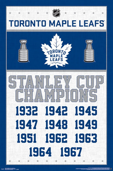 Toronto Maple Leafs 11-Time NHL Stanley Cup Champions Commemorative Wall Poster - Costacos