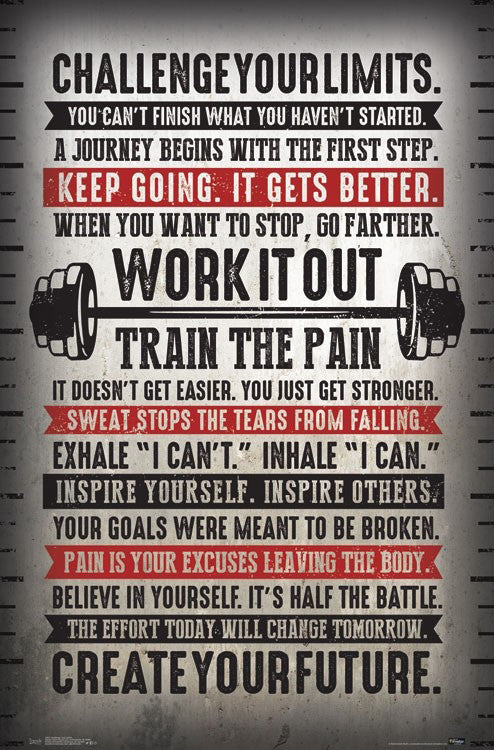 "Fitness Gym Motivational ""Challenge Your Limits"