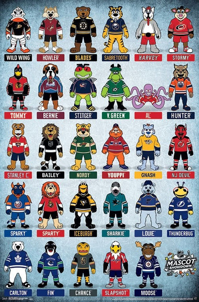 "NHL Hockey Mascots ""Mascot Showdown"" (29 Team Characters) Official Wall Poster - Trends International 2018"
