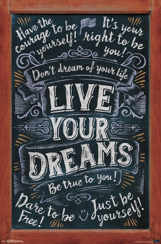 Live Your Dreams (Chalkboard Inspirations) Motivational Wall Poster - Trends International Inc.