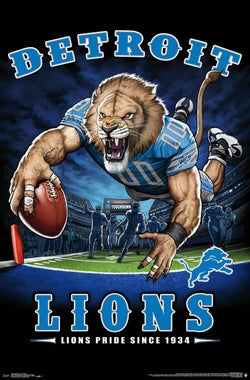 "Detroit Lions ""Lions Pride Since 1934"" NFL Theme Art Poster - Liquid Blue/Trends Int'l."