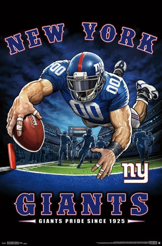 "New York Giants ""Giants Pride Since 1925"" NFL Theme Art Poster - Liquid Blue/Trends Int'l."