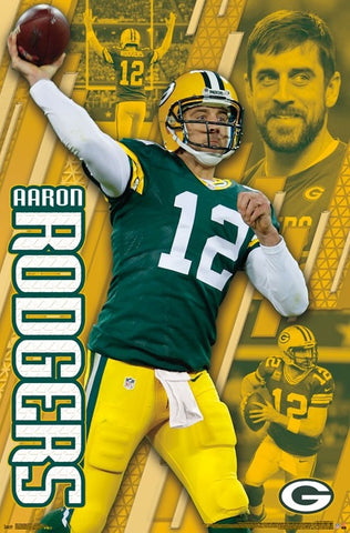 "Aaron Rodgers ""Golden"" Green Bay Packers QB NFL Action Wall POSTER - Trends International"