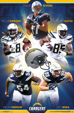 "Los Angeles Chargers ""Superstars"" 5-Player NFL Action Poster - Trends International"