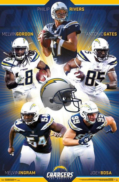 "Los Angeles Chargers ""Superstars 2017"" 5-Player NFL Action Poster - Trends International"