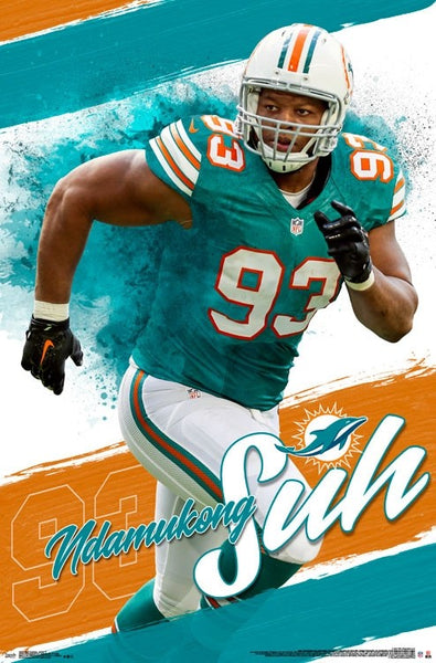 "Ndamukong Suh ""Superstar"" Miami Dolphins Official NFL Football Wall Poster - Trends International"