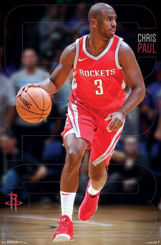 "Chris Paul ""Court Captain"" Houston Rockets NBA Basketball Poster - Trends 2018"