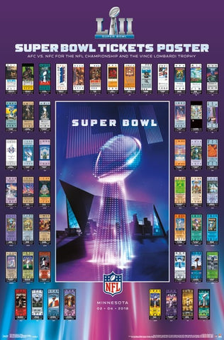 Super Bowl XLII (Minnesota 2018) Official SUPER TICKETS Game History Poster - Trends Int'l.