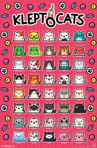 Kleptocats 40-Kitten Grid Cat Animated Video Game Poster - Trends International