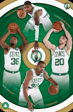 "Boston Celtics ""Four Stars"" Poster (Kyrie, Hayward, Horford, Smart) - Trends 2017-18"