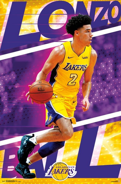 "Lonzo Ball ""Showtime"" Los Angeles Lakers NBA Action Poster - Trends 2017"