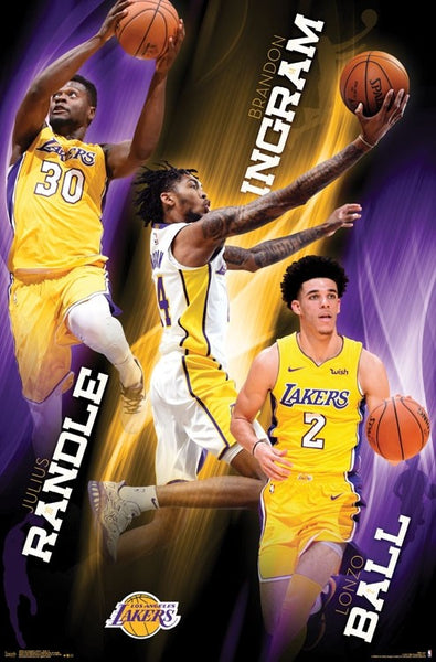 "Los Angeles Lakers ""Young Guns"" NBA Action Poster (Julius Randle, Brandon Ingram, Lonzo Ball) - Trends 2017"