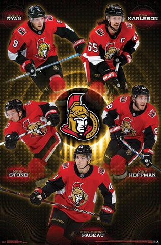 "Ottawa Senators ""Five Stars"" (Ryan, Karlsson, Stone, Hoffman, Pageau) Poster - Trends 2018"