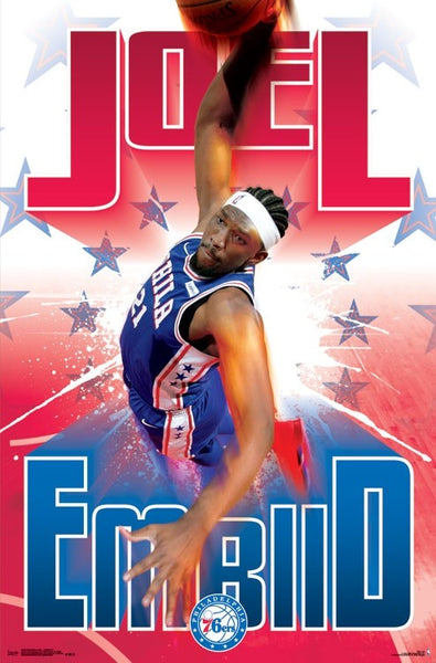 "Joel Embiid ""Power Slam"" Philadelphia 76ers NBA Basketball Poster - Trends International"