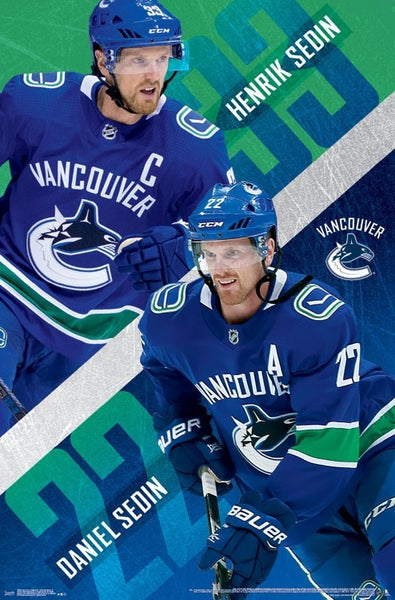 "Henrik and Daniel Sedin ""Superstars"" Vancouver Canucks NHL Action Poster - Trends International 2017-18"