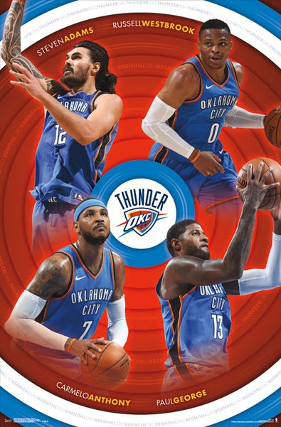 "Oklahoma City Thunder ""Four Stars"" Poster (Russell Westbrook, Paul George, Carmelo, Adams) - Trends 2017"