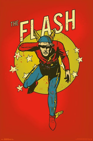 The Flash Vintage 1940s Style Comic Book DC Comics Character Wall Poster - Trends International