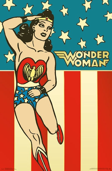 Wonder Woman Vintage 1940s Style Comic Book DC Comics Character Wall Poster - Trends International