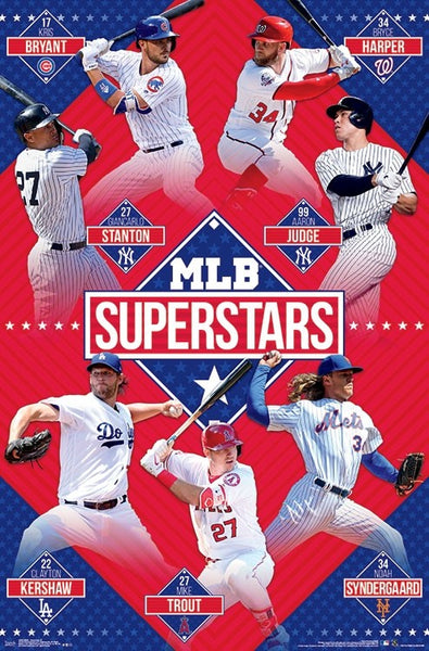MLB Baseball Superstars 2018 Poster (Bryant, Harper, Stanton, Judge, Trout, Syndergaard, Kershaw) - Trends Int'l.