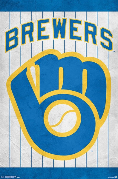 Milwaukee Brewers Official MLB Baseball Retro-Style Logo Poster - Trends International