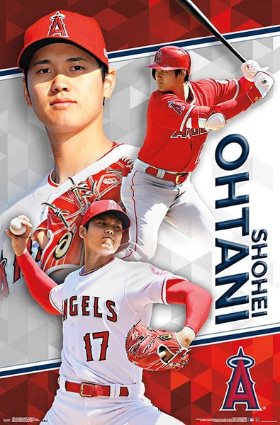 "Shohei Ohtani ""Double Threat"" Los Angeles Angels MLB Baseball Wall Poster - Trends International"