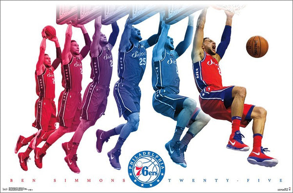 "*SHIPS 12/21* Ben Simmons ""Roaring Slam"" Philadelphia 76ers NBA Basketball Poster - Trends International"