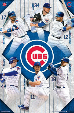 "Chicago Cubs ""Super Six"" (2018) Baseball Poster (Schwarber, Bryant, Rizzo, Lester, Darvish, Zobrist) - Trends Int'l."