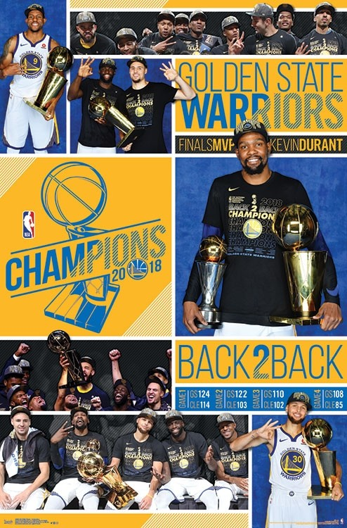 Golden State Warriors 2018 Back-to-Back NBA Champions 6-Player Commemorative Poster – Sports ...