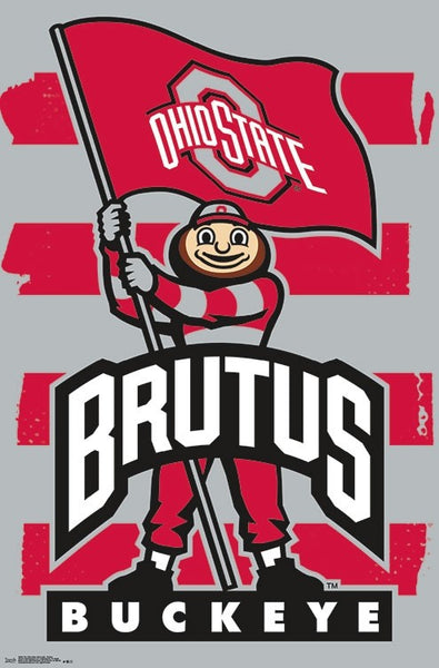 "Ohio State Buckeyes ""Brutus Power"" Official NCAA Team Mascot Logo Poster - Trends International"