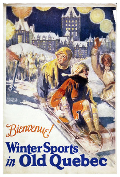 Winter Sports in Old Quebec c.1929 Vintage Poster Reproduction (Tobogganing) - Eurographics Inc.